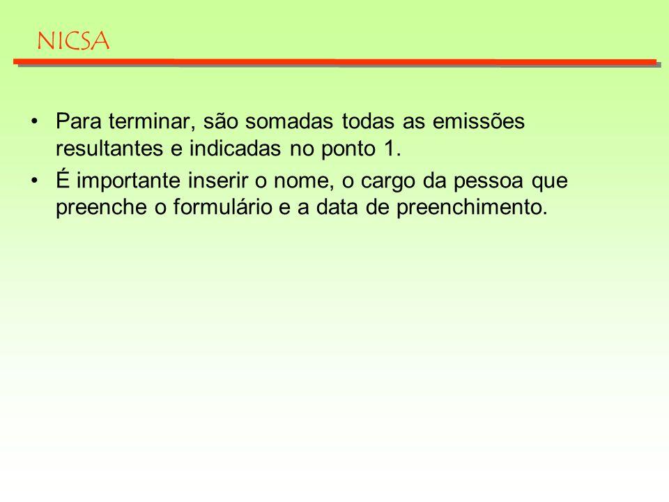 Para terminar, são somadas todas as emissões resultantes e indicadas no ponto 1. É importante inserir o nome, o cargo da pessoa que preenche o formulá