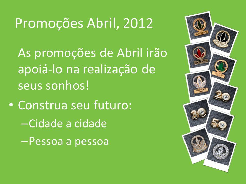 Promoções Abril, 2012 As promoções de Abril irão apoiá-lo na realização de seus sonhos! Construa seu futuro: – Cidade a cidade – Pessoa a pessoa