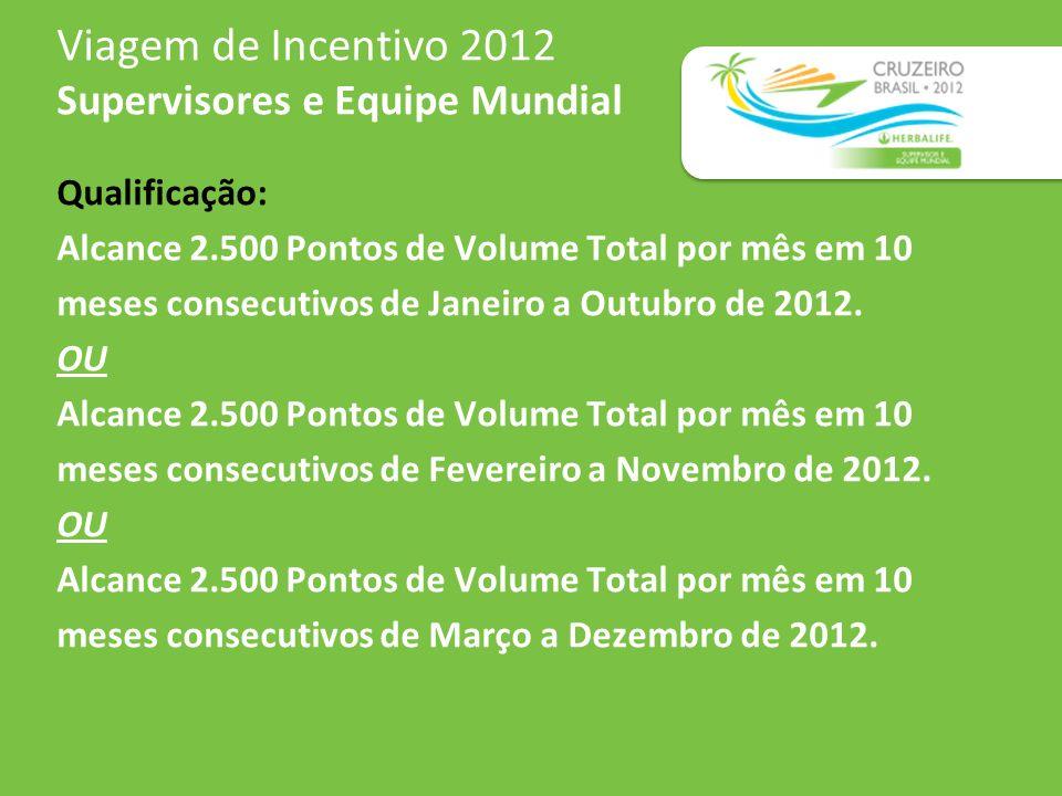 Viagem de Incentivo 2012 Supervisores e Equipe Mundial Qualificação: Alcance 2.500 Pontos de Volume Total por mês em 10 meses consecutivos de Janeiro