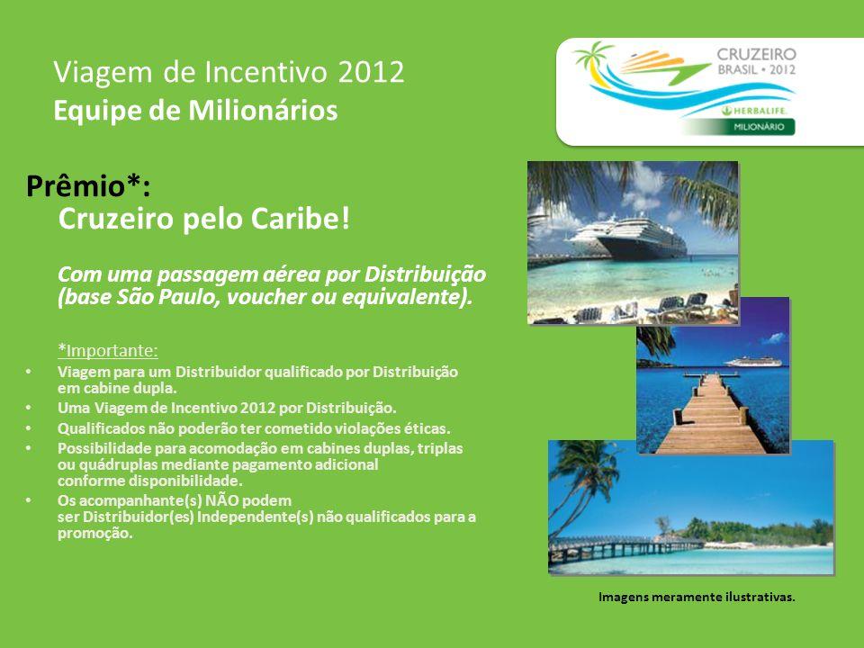 Prêmio*: Cruzeiro pelo Caribe! Com uma passagem aérea por Distribuição (base São Paulo, voucher ou equivalente). *Importante: Viagem para um Distribui