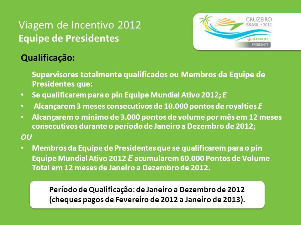 Qualificação: Supervisores totalmente qualificados ou Membros da Equipe de Presidentes que: Se qualificarem para o pin Equipe Mundial Ativo 2012; E Al