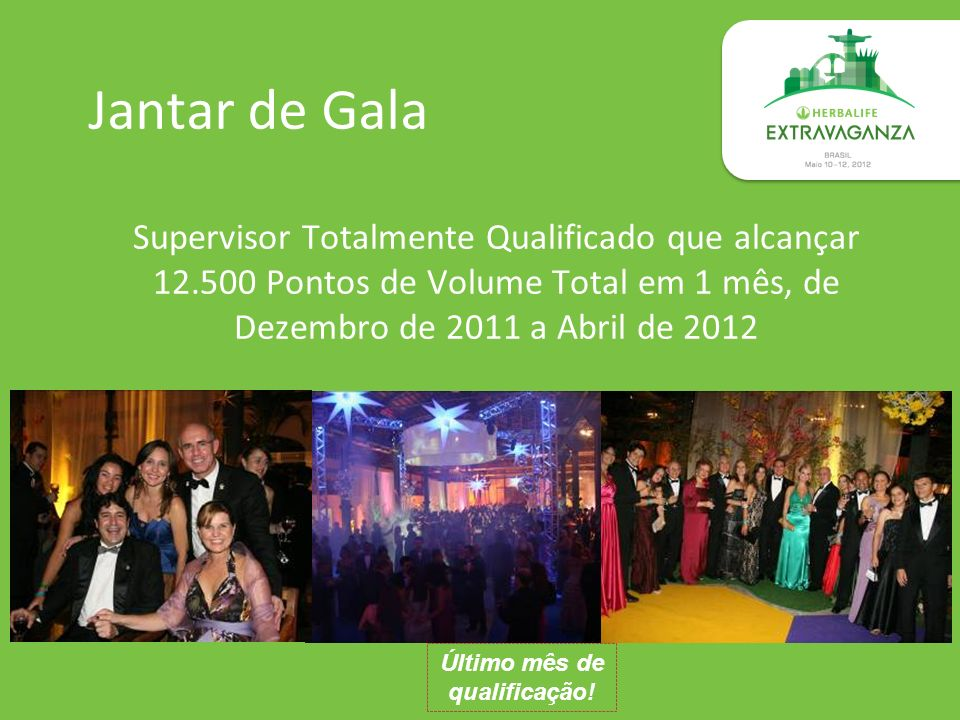 Jantar de Gala Supervisor Totalmente Qualificado que alcançar 12.500 Pontos de Volume Total em 1 mês, de Dezembro de 2011 a Abril de 2012 Último mês d