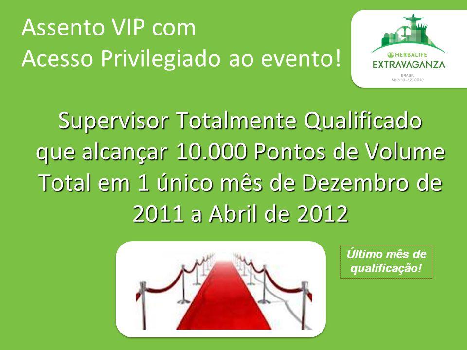 Assento VIP com Acesso Privilegiado ao evento! Supervisor Totalmente Qualificado que alcançar 10.000 Pontos de Volume Total em 1 único mês de Dezembro