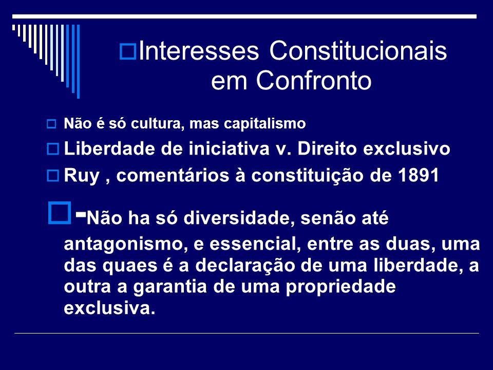 Interesses Constitucionais em Confronto Não é só cultura, mas capitalismo Liberdade de iniciativa v. Direito exclusivo Ruy, comentários à constituição