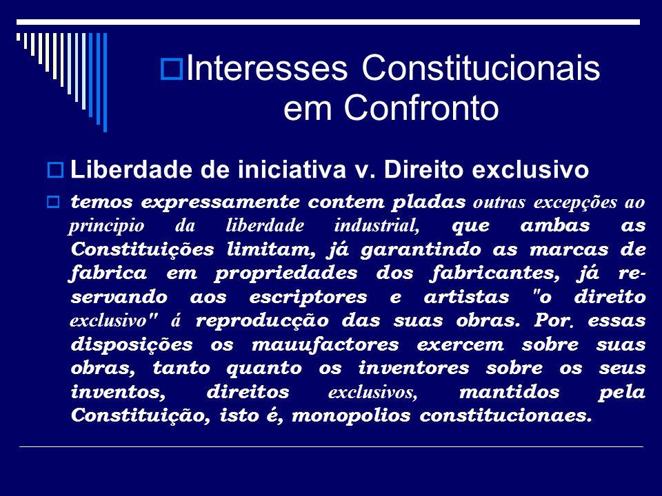 Interesses Constitucionais em Confronto Liberdade de iniciativa v. Direito exclusivo temos expressamente contem pladas outras excepções ao principio d