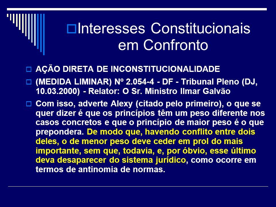 Interesses Constitucionais em Confronto AÇÃO DIRETA DE INCONSTITUCIONALIDADE (MEDIDA LIMINAR) Nº 2.054-4 - DF - Tribunal Pleno (DJ, 10.03.2000) - Relator: O Sr.