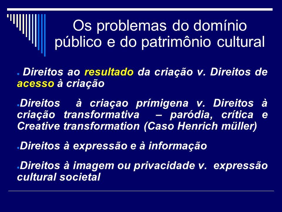 Os problemas do domínio público e do patrimônio cultural Direitos ao resultado da criação v. Direitos de acesso à criação Direitos à criaçao prímigena
