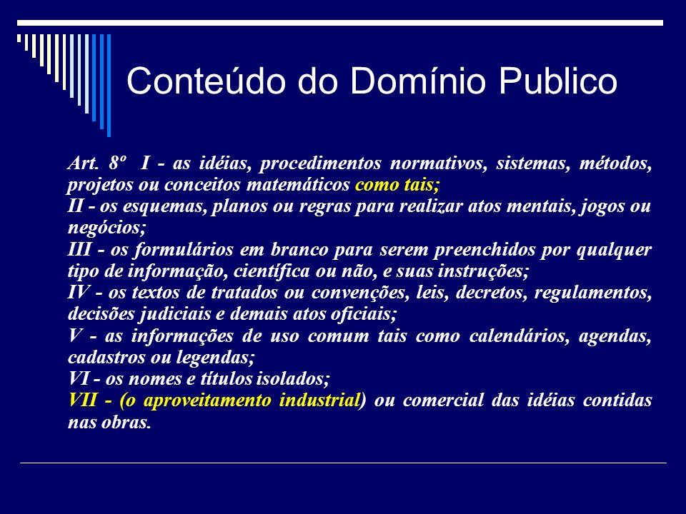 Conteúdo do Domínio Publico Art. 8º I - as idéias, procedimentos normativos, sistemas, métodos, projetos ou conceitos matemáticos como tais; II - os e