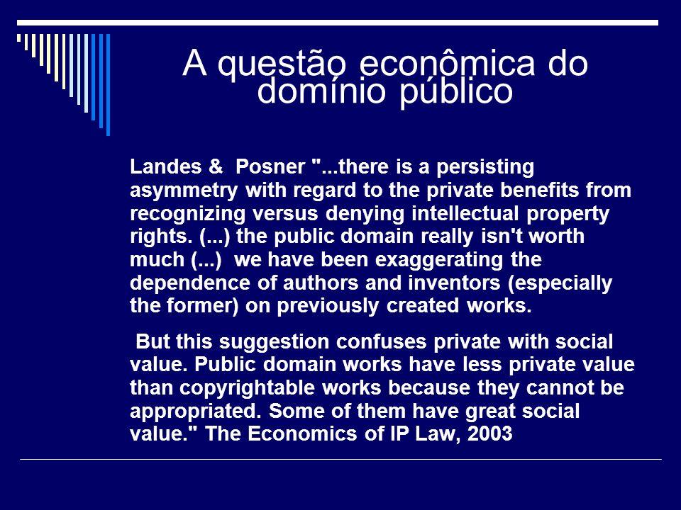 A questão econômica do domínio público Denis, A criação..., 2005 Não se imagine que tal modelo de mercado seja o único possível para fazer florescer a criatividade humana.