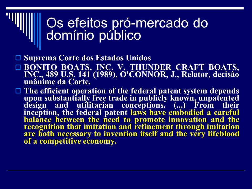 Os efeitos pró-mercado do domínio público Suprema Corte dos Estados Unidos BONITO BOATS, INC. V. THUNDER CRAFT BOATS, INC., 489 U.S. 141 (1989), O'CON