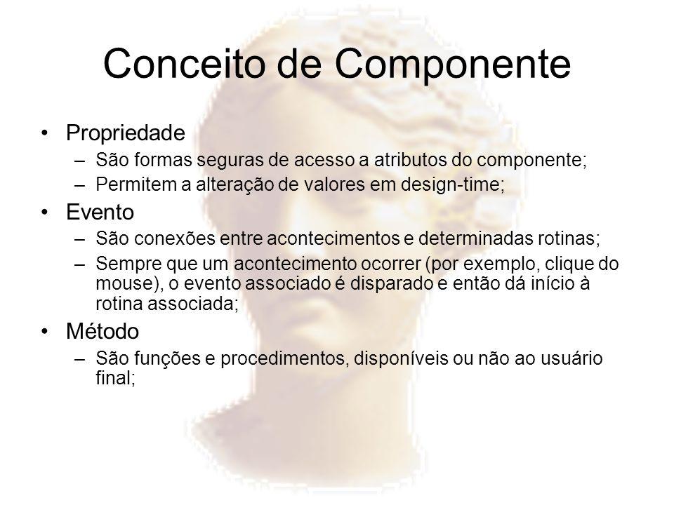 Conceito de Componente Propriedade –São formas seguras de acesso a atributos do componente; –Permitem a alteração de valores em design-time; Evento –S