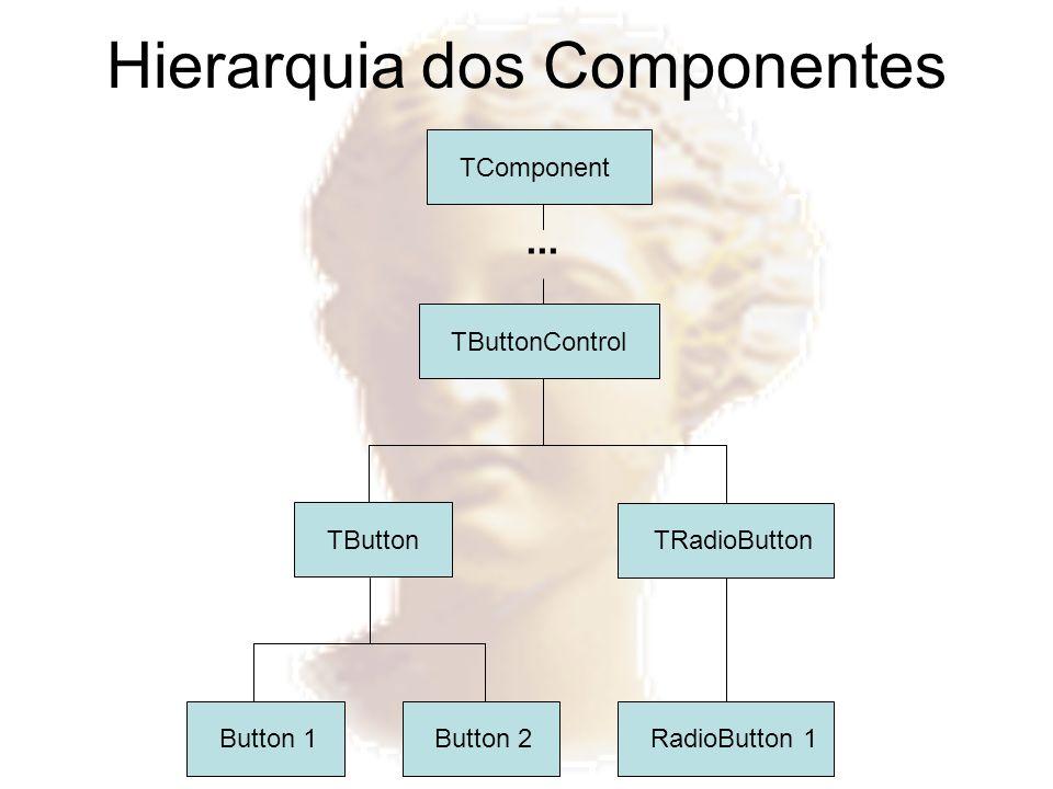 Hierarquia dos Componentes Button 1Button 2RadioButton 1 TButton TRadioButton TButtonControl TComponent...