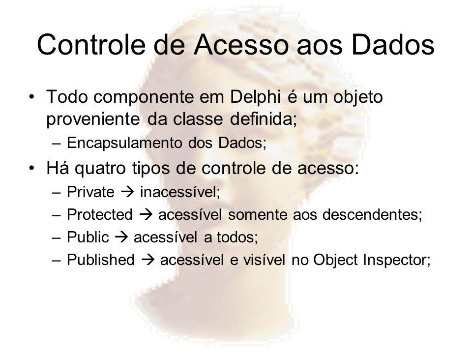 Controle de Acesso aos Dados Todo componente em Delphi é um objeto proveniente da classe definida; –Encapsulamento dos Dados; Há quatro tipos de contr