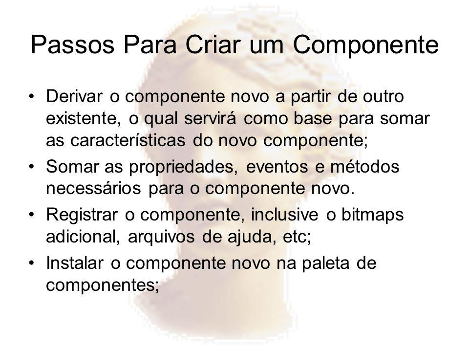 Passos Para Criar um Componente Derivar o componente novo a partir de outro existente, o qual servirá como base para somar as características do novo
