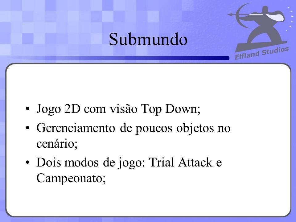 Submundo Jogo 2D com visão Top Down; Gerenciamento de poucos objetos no cenário; Dois modos de jogo: Trial Attack e Campeonato;