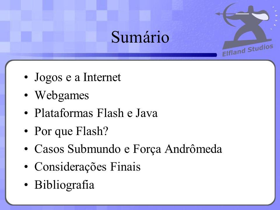 Sumário Jogos e a Internet Webgames Plataformas Flash e Java Por que Flash? Casos Submundo e Força Andrômeda Considerações Finais Bibliografia