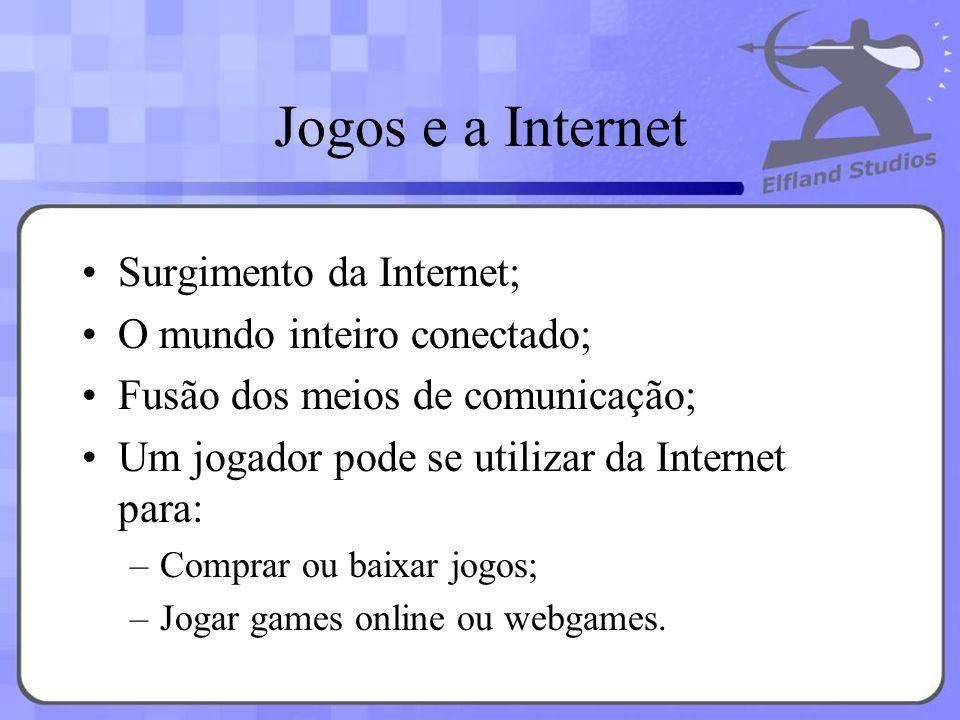 Jogos e a Internet Surgimento da Internet; O mundo inteiro conectado; Fusão dos meios de comunicação; Um jogador pode se utilizar da Internet para: –C