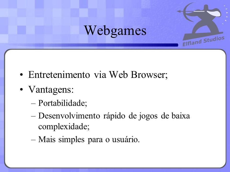 Webgames Entretenimento via Web Browser; Vantagens: –Portabilidade; –Desenvolvimento rápido de jogos de baixa complexidade; –Mais simples para o usuár