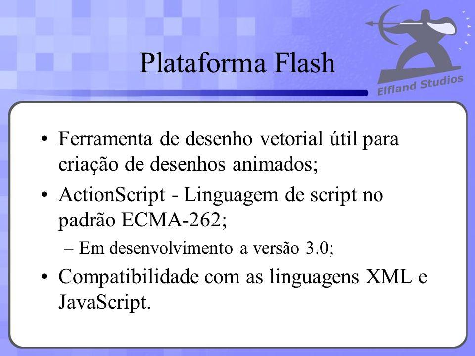 Plataforma Flash Ferramenta de desenho vetorial útil para criação de desenhos animados; ActionScript - Linguagem de script no padrão ECMA-262; –Em des