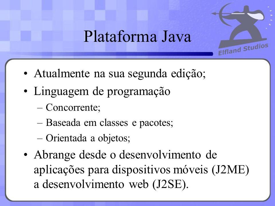 Plataforma Java Atualmente na sua segunda edição; Linguagem de programação –Concorrente; –Baseada em classes e pacotes; –Orientada a objetos; Abrange