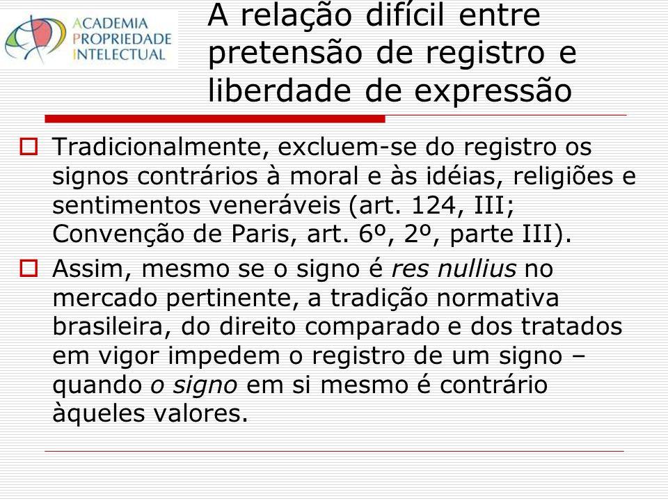 Tradicionalmente, excluem-se do registro os signos contrários à moral e às idéias, religiões e sentimentos veneráveis (art.