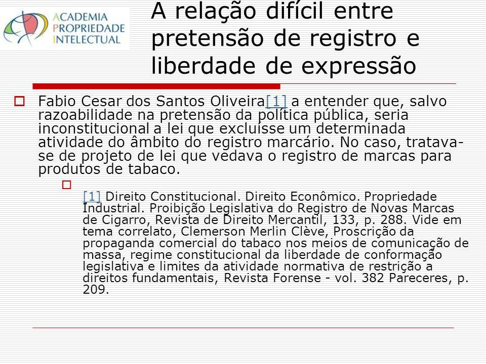 A relação difícil entre pretensão de registro e liberdade de expressão Fabio Cesar dos Santos Oliveira[1] a entender que, salvo razoabilidade na pretensão da política pública, seria inconstitucional a lei que excluísse um determinada atividade do âmbito do registro marcário.