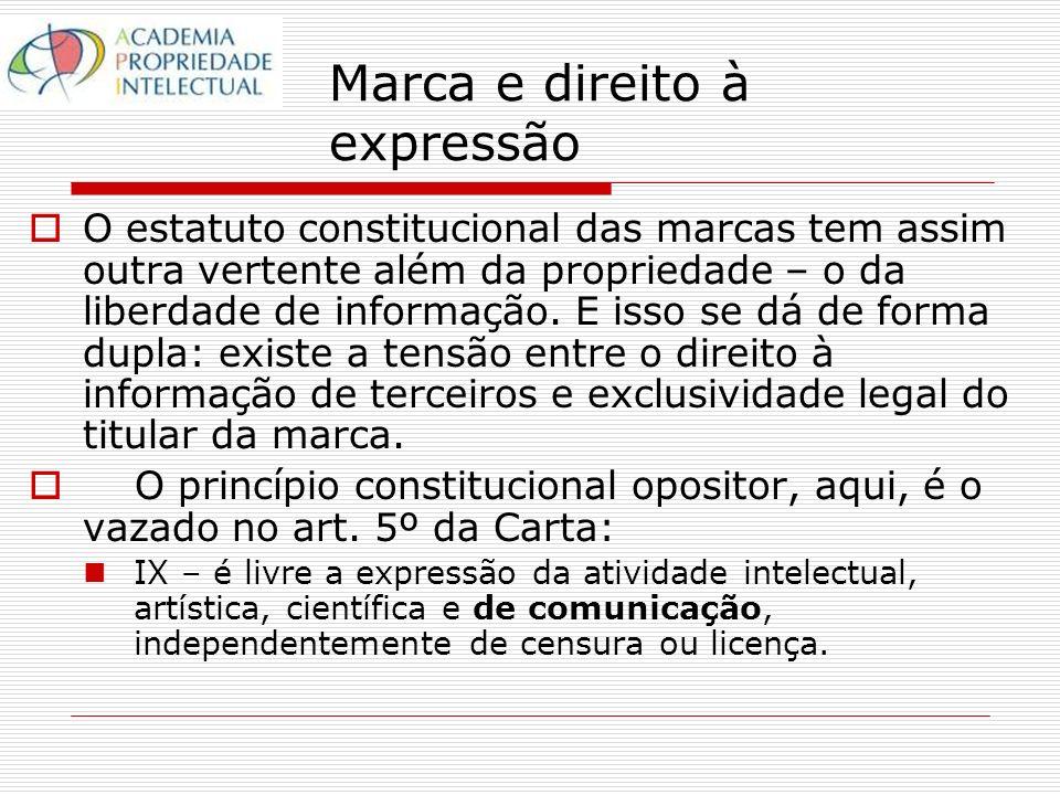 Marca e direito à expressão O estatuto constitucional das marcas tem assim outra vertente além da propriedade – o da liberdade de informação.