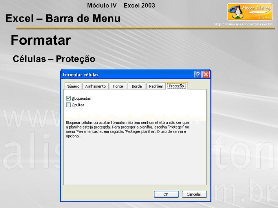 Módulo IV – Excel 2003 Excel – Barra de Menu Formatar Células – Proteção