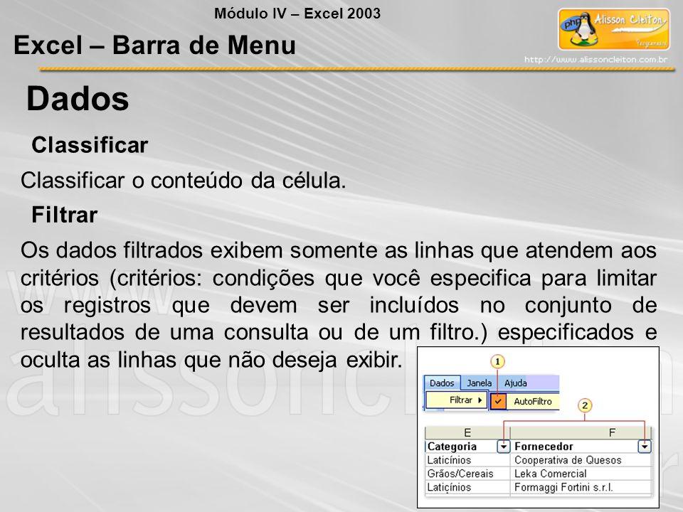 Módulo IV – Excel 2003 Excel – Barra de Menu Dados Classificar Classificar o conteúdo da célula. Filtrar Os dados filtrados exibem somente as linhas q