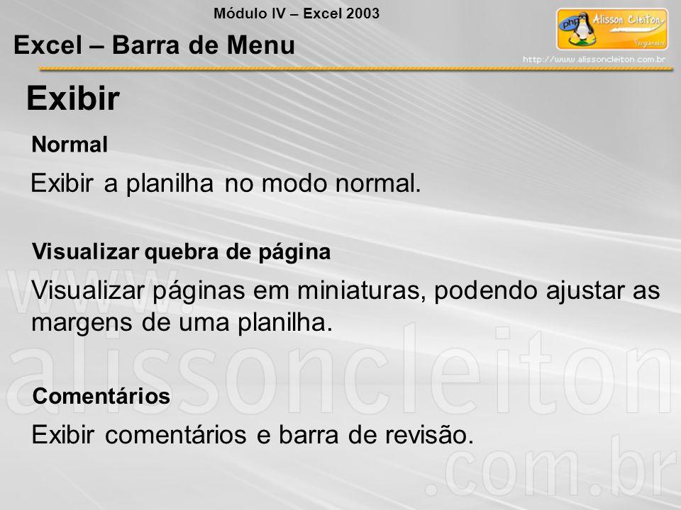 Módulo IV – Excel 2003 Excel – Barra de Menu Exibir Normal Exibir a planilha no modo normal. Visualizar quebra de página Visualizar páginas em miniatu