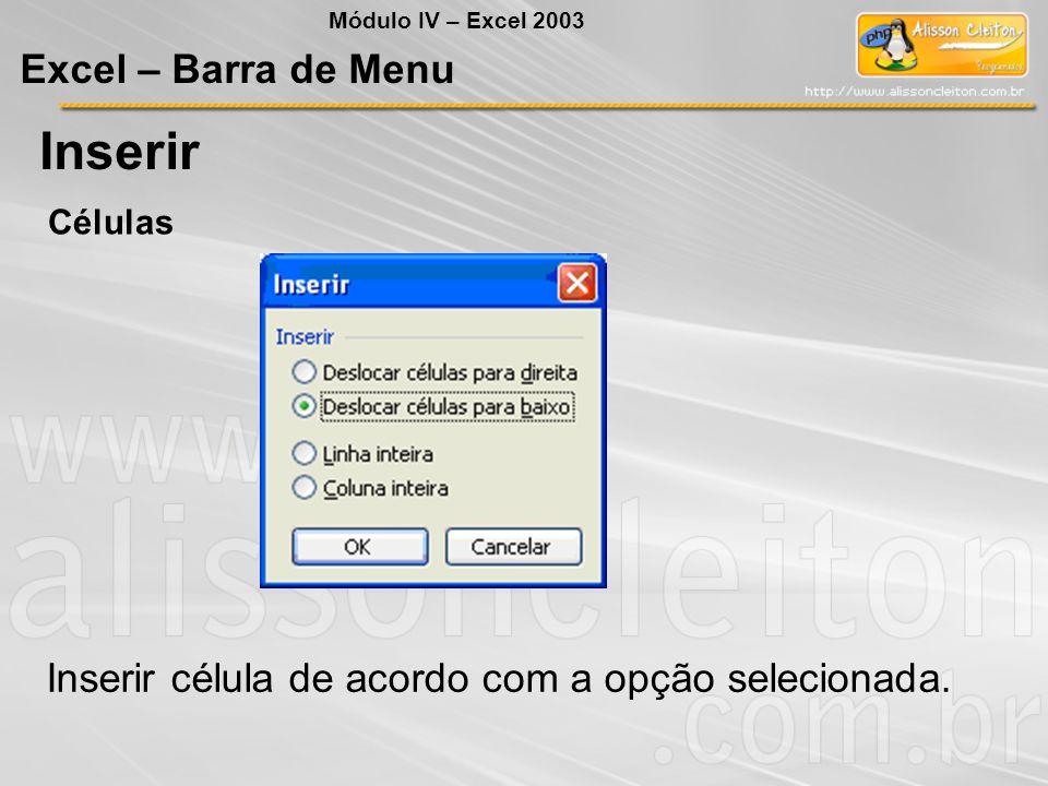 Módulo IV – Excel 2003 Excel – Barra de Menu Inserir Inserir célula de acordo com a opção selecionada. Células