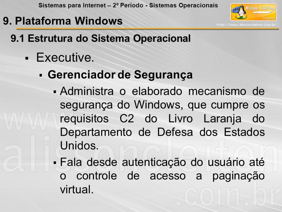 9.1 Estrutura do Sistema Operacional Executive. Gerenciador de Segurança Administra o elaborado mecanismo de segurança do Windows, que cumpre os requi