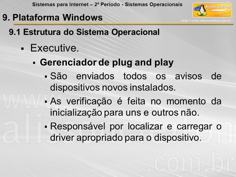 9.1 Estrutura do Sistema Operacional Executive. Gerenciador de plug and play São enviados todos os avisos de dispositivos novos instalados. As verific