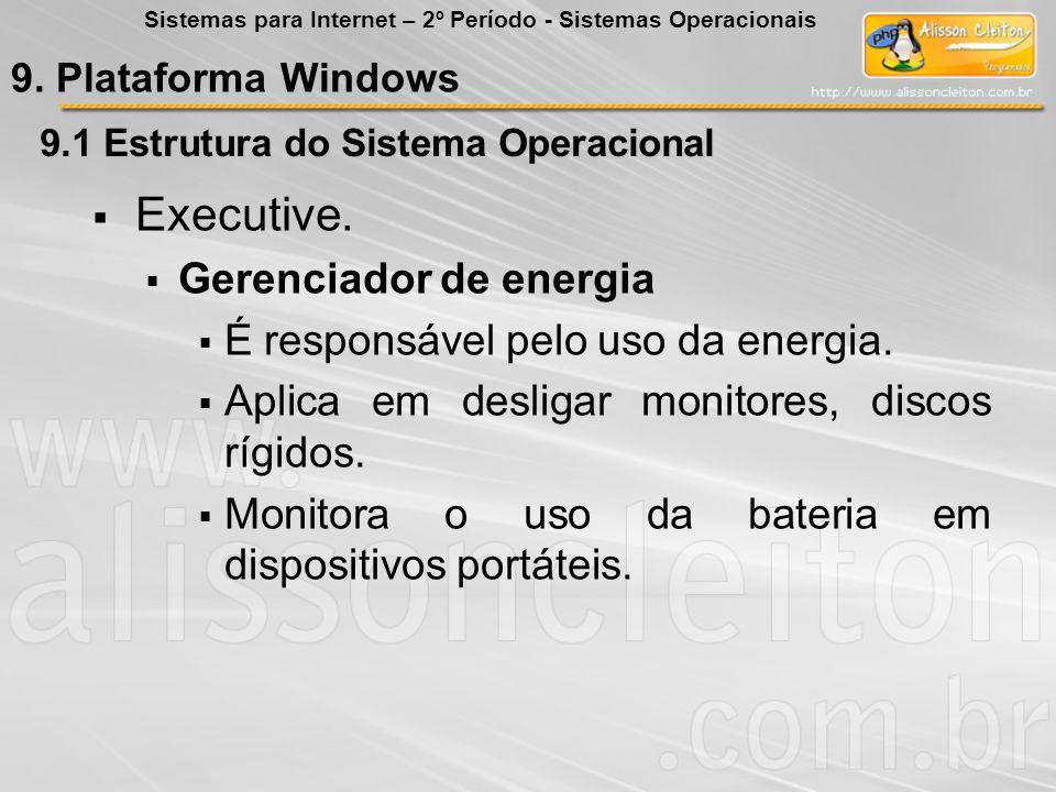 9.1 Estrutura do Sistema Operacional Executive. Gerenciador de energia É responsável pelo uso da energia. Aplica em desligar monitores, discos rígidos