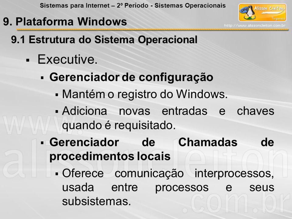 9.1 Estrutura do Sistema Operacional Executive. Gerenciador de configuração Mantém o registro do Windows. Adiciona novas entradas e chaves quando é re