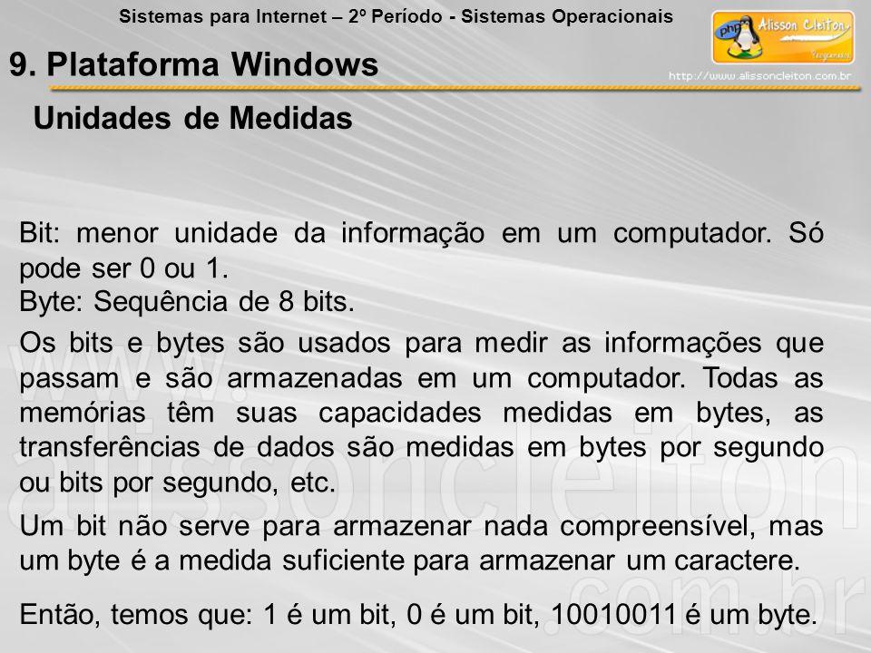 Bit: menor unidade da informação em um computador. Só pode ser 0 ou 1. Byte: Sequência de 8 bits. Os bits e bytes são usados para medir as informações