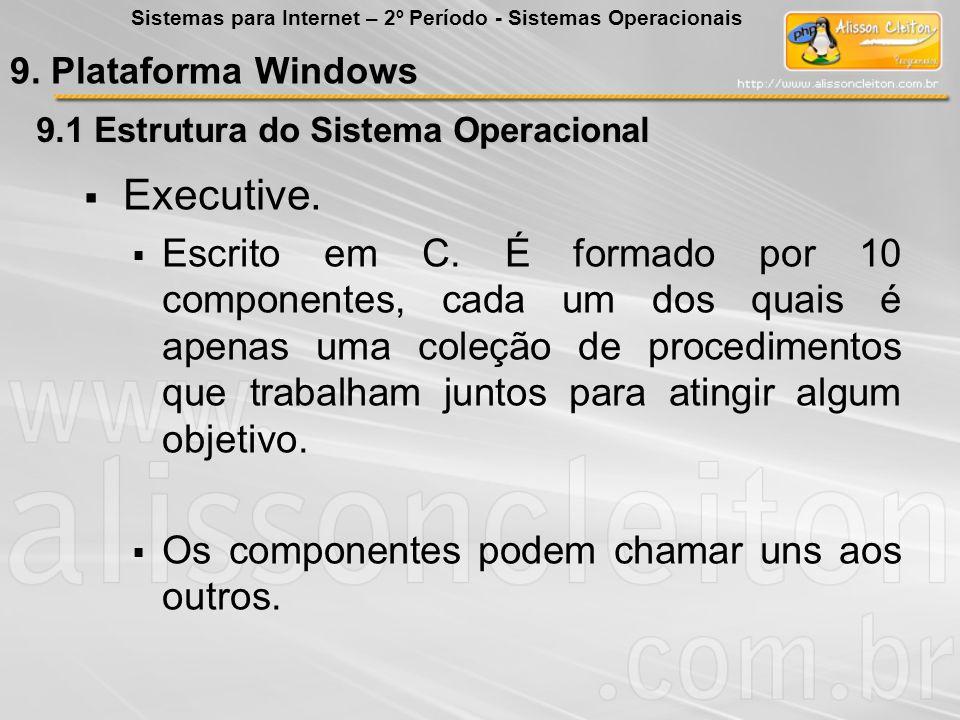 9.1 Estrutura do Sistema Operacional Executive. Escrito em C. É formado por 10 componentes, cada um dos quais é apenas uma coleção de procedimentos qu