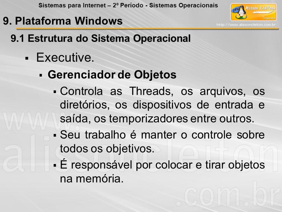 9.1 Estrutura do Sistema Operacional Executive. Gerenciador de Objetos Controla as Threads, os arquivos, os diretórios, os dispositivos de entrada e s