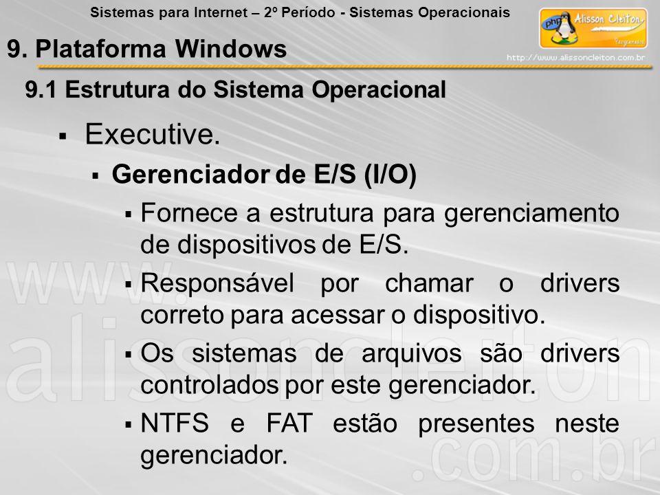 9.1 Estrutura do Sistema Operacional Executive. Gerenciador de E/S (I/O) Fornece a estrutura para gerenciamento de dispositivos de E/S. Responsável po