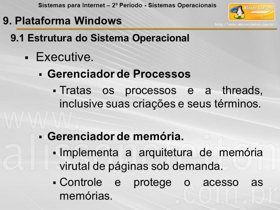 9.1 Estrutura do Sistema Operacional Executive. Gerenciador de Processos Tratas os processos e a threads, inclusive suas criações e seus términos. Ger