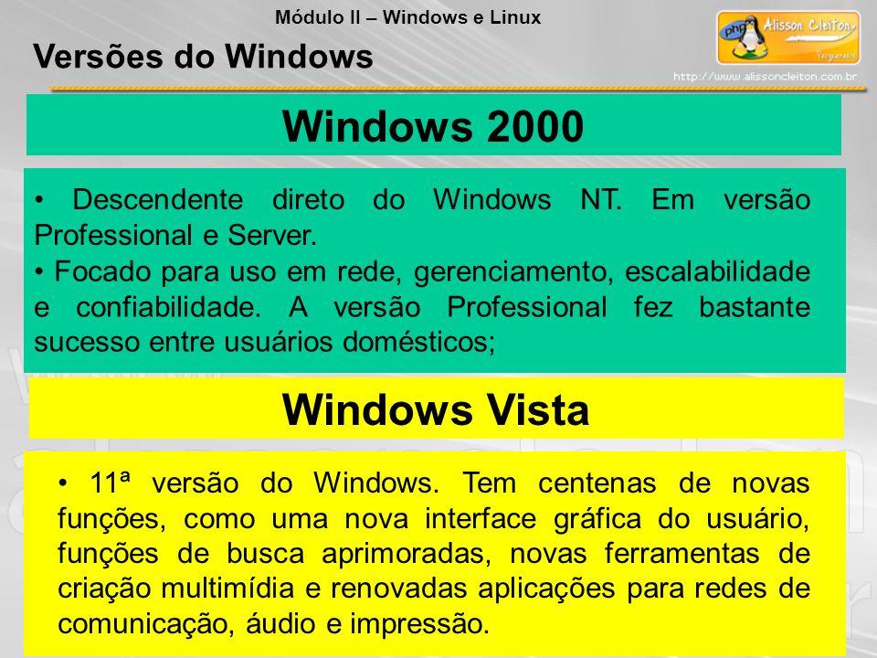 Windows Vista 11ª versão do Windows. Tem centenas de novas funções, como uma nova interface gráfica do usuário, funções de busca aprimoradas, novas fe