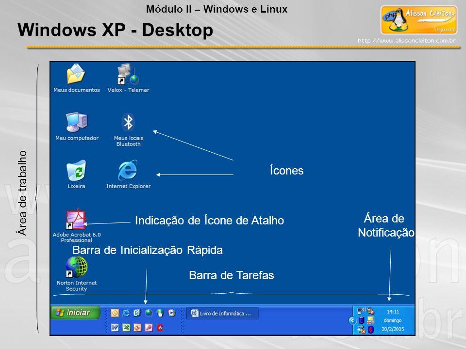 Área de trabalho Ícones Barra de Tarefas Barra de Inicialização Rápida Área de Notificação Windows XP - Desktop Módulo II – Windows e Linux Indicação