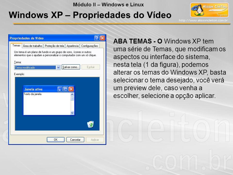 ABA TEMAS - O Windows XP tem uma série de Temas, que modificam os aspectos ou interface do sistema, nesta tela (1 da figura), podemos alterar os temas
