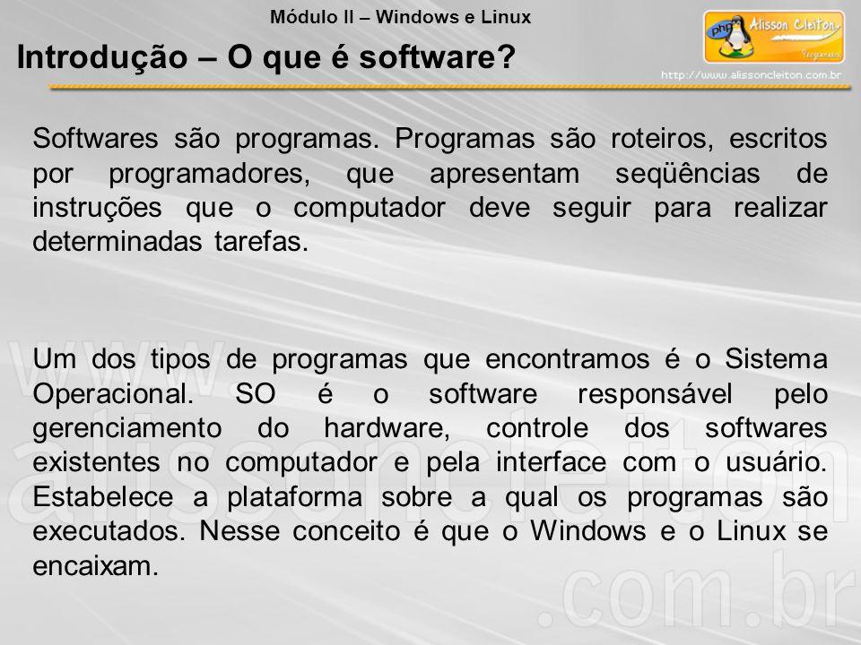 Introdução – O que é software? Softwares são programas. Programas são roteiros, escritos por programadores, que apresentam seqüências de instruções qu