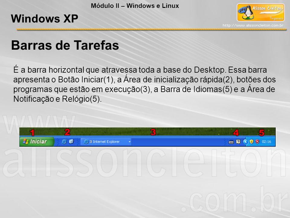 Barras de Tarefas É a barra horizontal que atravessa toda a base do Desktop. Essa barra apresenta o Botão Iniciar(1), a Área de inicialização rápida(2