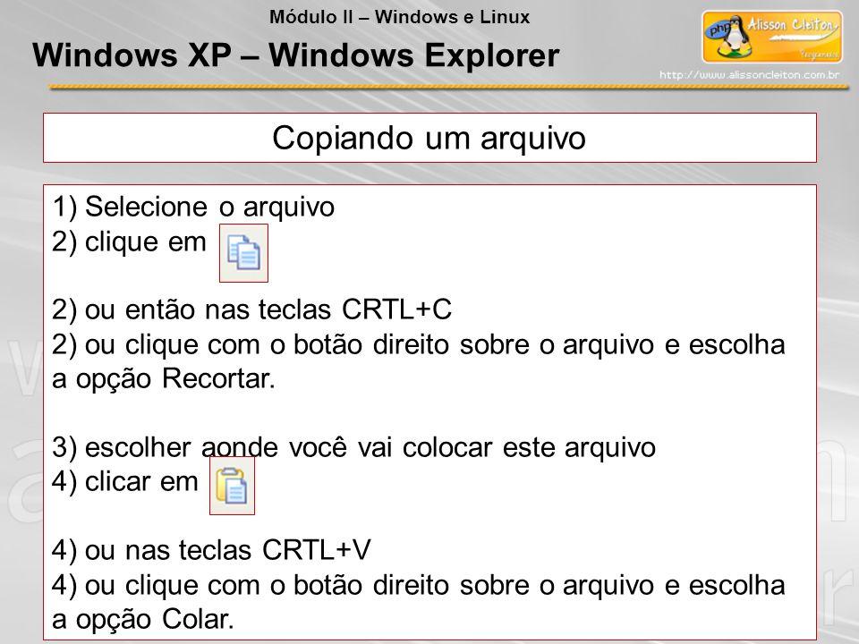 Copiando um arquivo 1) Selecione o arquivo 2) clique em 2) ou então nas teclas CRTL+C 2) ou clique com o botão direito sobre o arquivo e escolha a opç