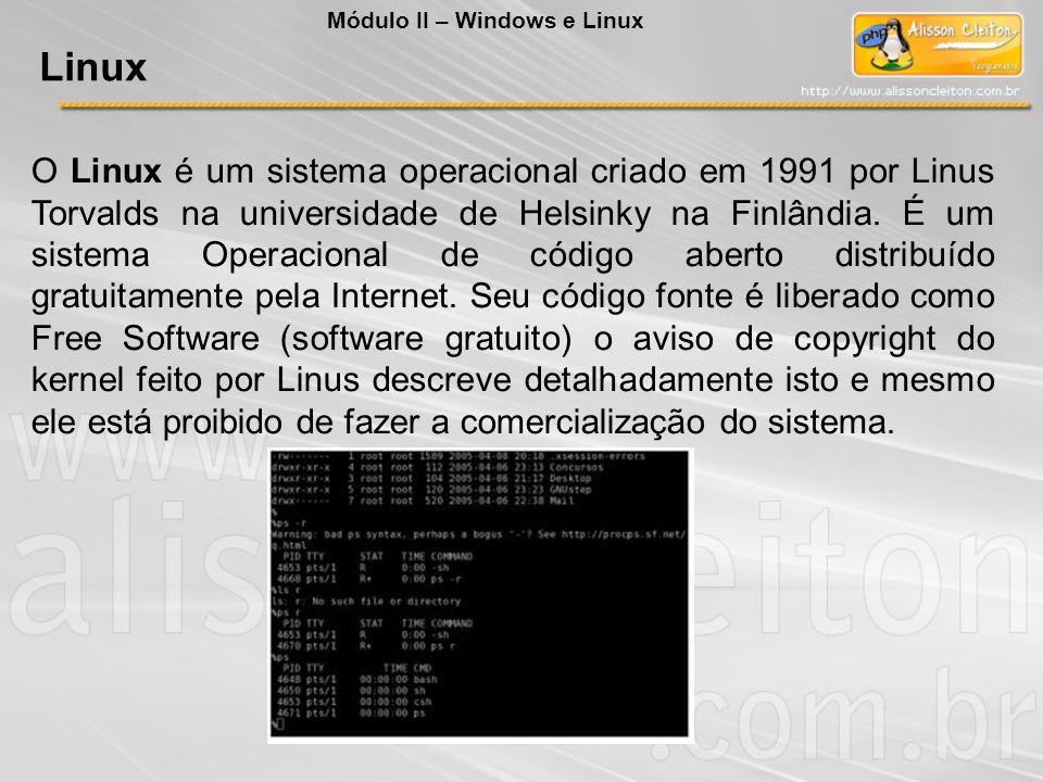 O Linux é um sistema operacional criado em 1991 por Linus Torvalds na universidade de Helsinky na Finlândia. É um sistema Operacional de código aberto
