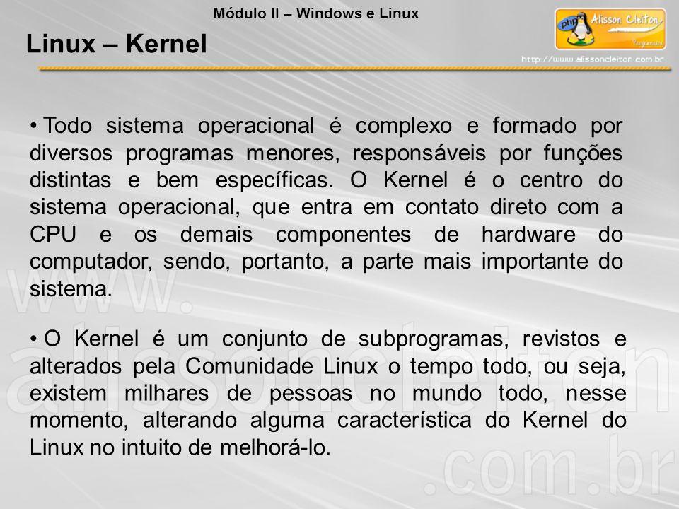 Todo sistema operacional é complexo e formado por diversos programas menores, responsáveis por funções distintas e bem específicas. O Kernel é o centr