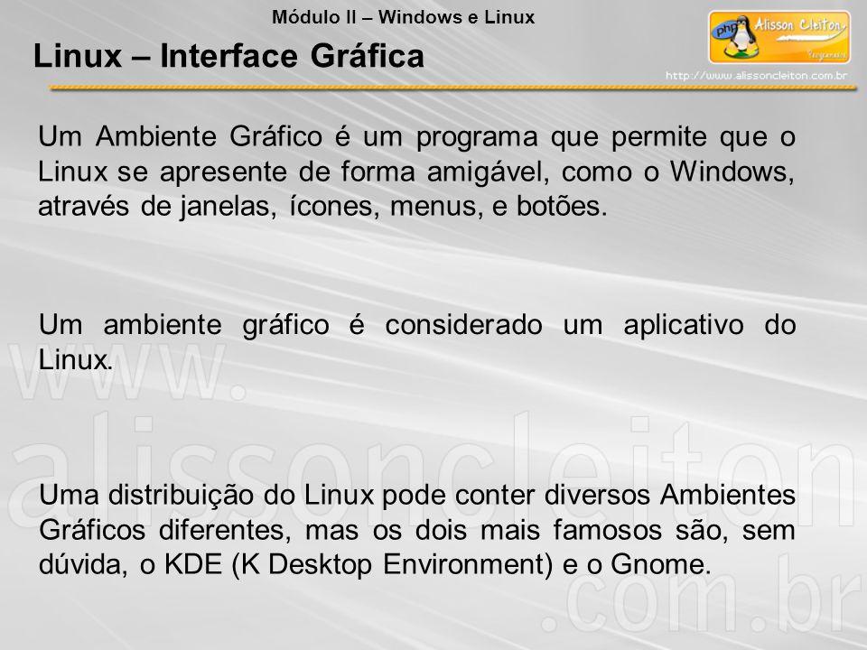 Um Ambiente Gráfico é um programa que permite que o Linux se apresente de forma amigável, como o Windows, através de janelas, ícones, menus, e botões.