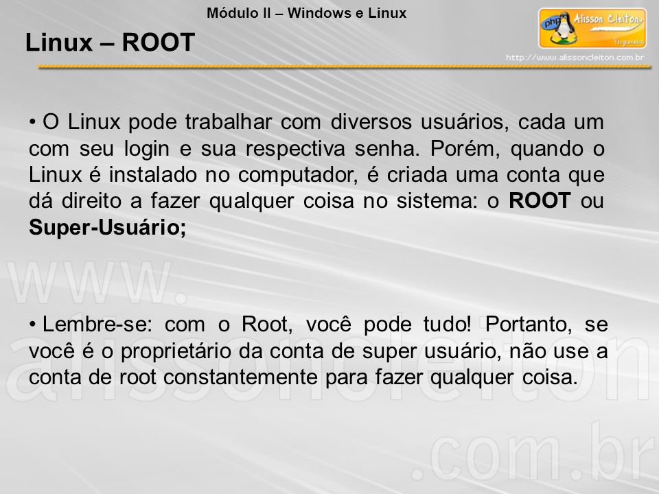 O Linux pode trabalhar com diversos usuários, cada um com seu login e sua respectiva senha. Porém, quando o Linux é instalado no computador, é criada